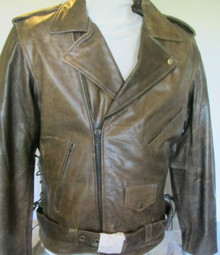Armored Brown Mens Distressed Leather Motorcycle Brando Jacket Sale Item