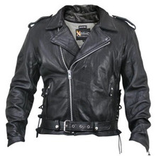Armored Black Premium Distressed Leather Motorcycle Biker Jacket CLOSEOUT