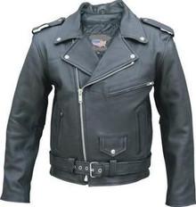 "Mens Black Tall Premium Buffalo Motorcycle biker Jacket 58-64"" Chests New"
