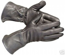 Black Guntlet Deerskin Leather Motorcycle biker Gloves