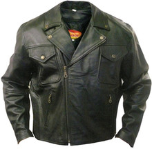 Men's Top Grain Black Buffalo Leather Motorcycle Jacket CLOSEOUT