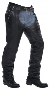 Premium Naked leather Motorcycle biker Chaps + Zip out Insulated lining