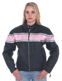 Ladies /  Womens Pink & Black  Leather Motorcycle Jacket