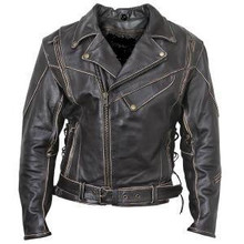 Antique Vintage Brown Rub-Off Leather Motorcycle Jacket Mens $229 CYBER Sale Item