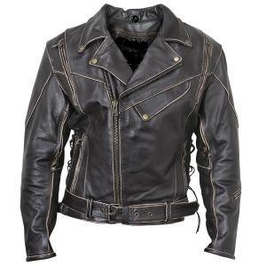 Antique Vintage Brown Rub Off Leather Motorcycle Jacket Mens Retail