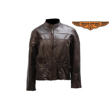 A1 Brown Vented Womens Leather Motorcycle Biker Jacket Closeout