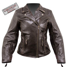 3A Armored Womens Braided retro Brown Leather motorcycle biker Jacket