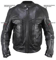 Armored  Buffalo Black Bandit Leather Cruiser Motorcycle Jacket