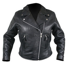 Black Soft Naked Leather Womans Motorcycle biker Jacket Medium CLOSEOUT