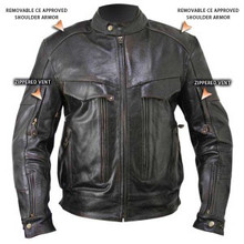 Armored Bandit Retro Brown Buffalo Leather Cruiser Motorcycle Jacket