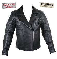 Armored Womens Black Leather Motorcycle biker Jacket CLOSEOUT XL only