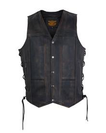 Men's 10 pocket Distressed Dk Brown Leather Motorcycle Vest with Gun Pocket