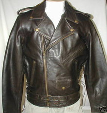 Bigfoot Classic Retro Brown Premium Leather Motorcycle Jacket XL, 5XL Closeout