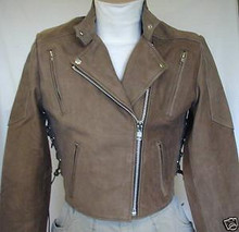 A Brown Buckskin Premium Leather Womens vented Motorcycle Jacket CLOSEOUT