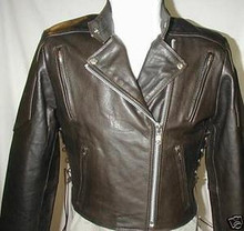 A1 Womens Waist Length Retro Brown Vented Premium Leather Motorcycle Jacket