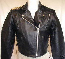A1 Black Premium Leather Womans Waist Length Vented Motorcycle Jacket CLOSEOUT