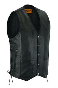 Men's 10 Pocket Black Leather Motorcycle Vest with Gun Pocket