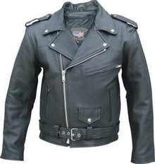 Black top grain naked leather mens motorcycle biker jacket