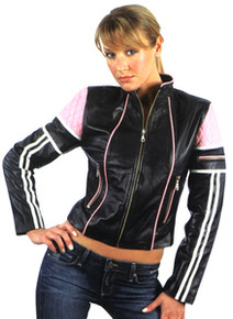 BLACK & PINK LADIES LAMBSKIN LEATHER MOTORCYCLE STYLE JACKET CLOSEOUT