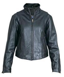 Black Braided Womens Soft Naked Leather Motorcycle Biker Jacket CLOSEOUT PRICED