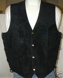 Black Suede Leather Motorcycle biker Vest Closeout!