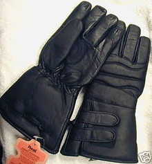 Black Thinsulate insulated leather motorcycle gloves