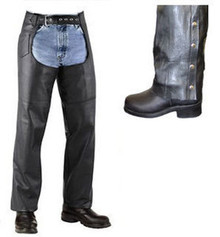 Mens Womens Black Motorcycle Biker Leather Heavy Cowhide Lined Chaps