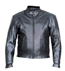 Men's Premium Naked Leather Black Vented Racer Style Motorcycle Jacket