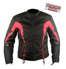 Womens Red and Black  600D Textile Armored Motorcycle Jacket CLOSEOUT