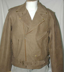 Bigfoot Nubuck Buckskin Brown  Men's Premium Leather Motorcycle Jacket 2XL,3XL,4XL