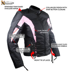 Womens Pink and Black Textile Armored Motorcycle Jacket CLOSEOUT