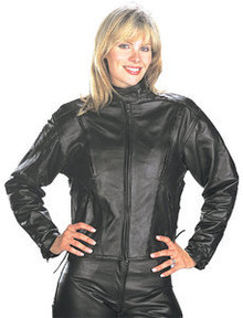 ladie's/Women's Black Leather Vented Speedster Motorcycle Jacket CLOSEOUT XL