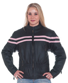 Womens Pink and Black Vented Motorcycle Biker Leather Jacket Closeout SALE