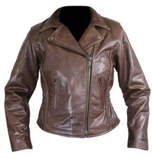 Women's Leather  Brown Braided  Motorcycle Jacket Closeout Size Small only