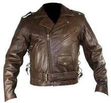 Mens Distress Premium Brown Cowhide Leather Motorcycle Jacket 3XL CLOSEOUT