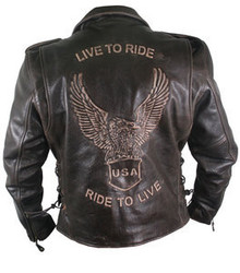 Brown Retro Live to Ride Mens Biker Motorcycle Jacket 4XL