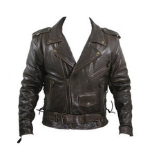 Brown Retro Distressed Classic Leather Motorcycle Jacket Closeout Medium