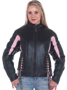 Ladies / Womens Pink and Black Vented Leather Motorcycle Biker Jacket
