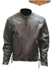 Brown  Premium Vented Speedster Leather Motorcycle Jacket SALE