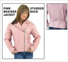 Women's Pink Top Grade Leather Motorcycle Jacket CLOSEOUT