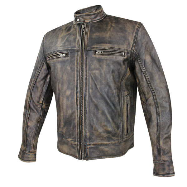 29c36d7a1 Armored Brown Distressed Leather Vented Speedster Motorcycle Jacket W/ Gun  Pocket