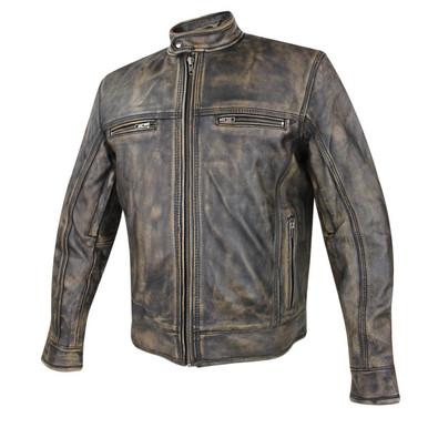 Men's Armored Distressed Leather Speedster Jacket