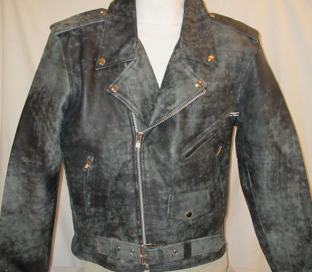 Distressed Black Leather Motorcycle Biker Jacket Mens W Gun Pocket