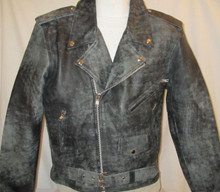 Distressed Black Leather Motorcycle Biker Jacket Mens w/ Gun Pocket