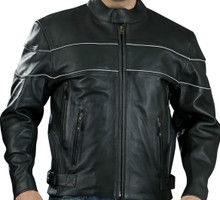 Black Premium Mens Naked Leather Cruiser Vented biker Jacket W/ Reflective Stripe Medium, Large CLOSEOUT