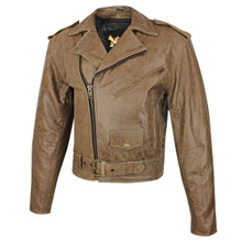 Brown / Distressed Classic Xelement Leather Motorcycle Biker Jacket w Gun Pocket  LARGE