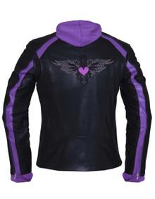 Black & Purple or Pink Embroidered Leather Motorcycle Biker Jacket Zip out Hoodie