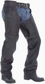 BLACK PREMIUM LEATHER MOTORCYCLE SOFT COWHIDE CHAPS RETAIL $209