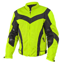 Armored Men's Neon Green Mesh  Motorcycle Jacket with Gun Pocket by Xelement