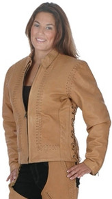 Ladies Brown Hand Laced Leather Jacket w/ Zip out liner CLOSEOUT SIZE M